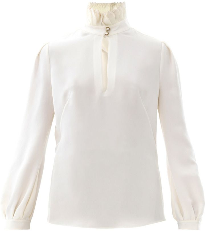 f7a4667cda603c Alexander McQueen Pleated high-neck blouse on shopstyle.com ...
