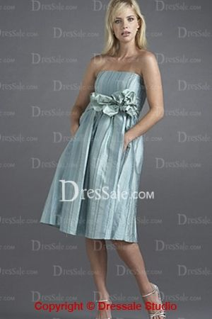 strapless bridesmaid dress with feminine floral design