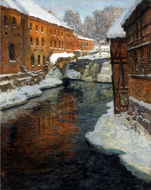 Thaulow, Frits (1847-1906) - Snow Covered Town with Waterfall (Christie's London, 2008) | Flickr - Photo Sharing!