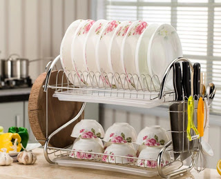 2 3 Tiers Dish Drying Rack Kitchen Washing Holder Basket Plated