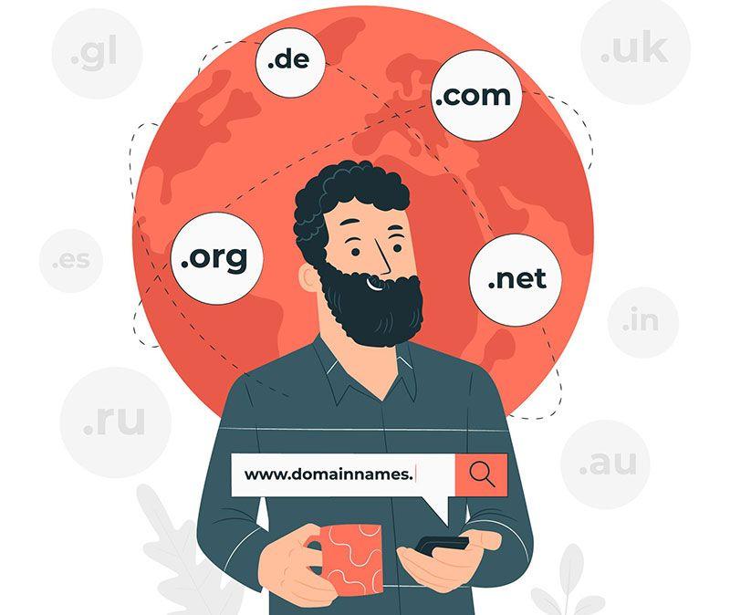 ما هو اسم النطاق الدومين كيف تختار اسم نطاق رائع لمتجرك الالكتروني او موقعك المناسب لك شرح انواع الدومين وأفضل شركات حجز عب Kids Website Concept Illustration