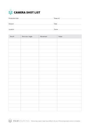 Camera Shot List Just Your Basic No Nonsense Film Shot List