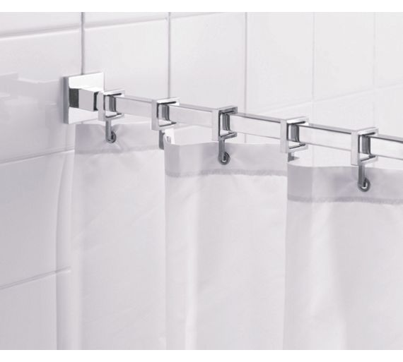 Buy Croydex Square Shower Curtain Rod and Rings - Chrome at Argos.co ...