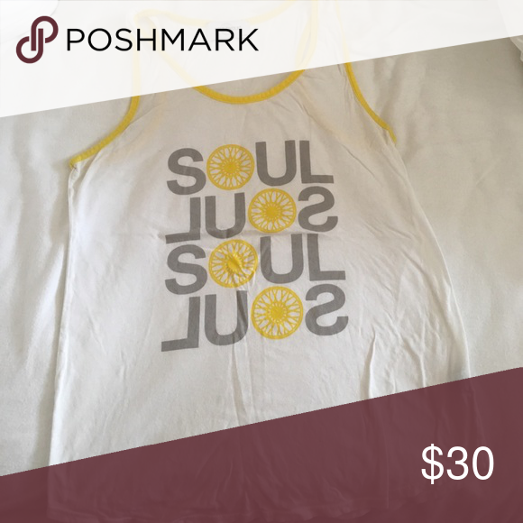 SoulCycle tank White with yellow in good condition soulcycle Tops Tank Tops