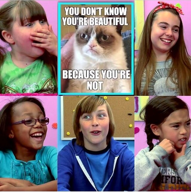 Kids React episode Grumpy Cat. The kids in this collage ...
