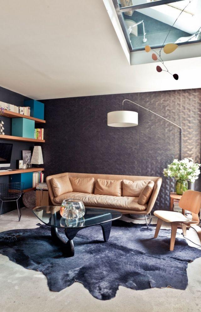 Ideen Wandgestaltung-3d Tapete Stehleuchte Ledersofa-Teppich
