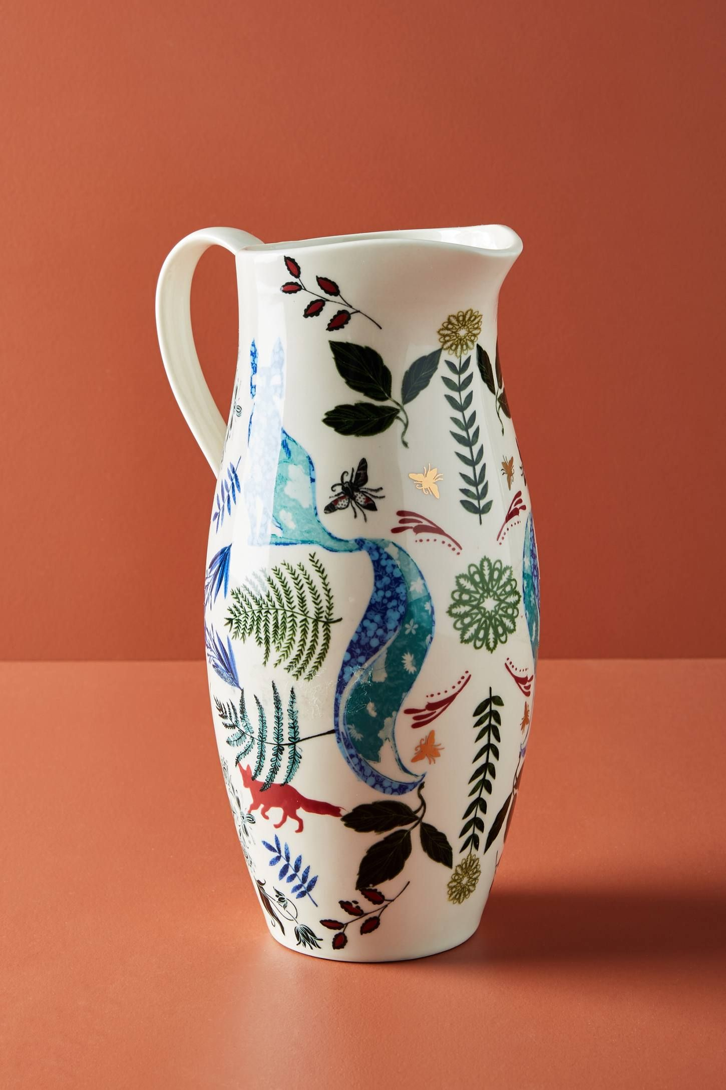 Josie Shenoy Flora And Fauna Pitcher Anthropologie Unique Pitcher Antique Inspiration Floral Pillowcase