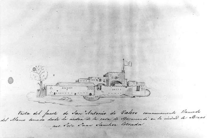 1836 : THE MEXICAN SOLDIER'S VIEWJose Juan Sanchez-Navarro, who participated in the battle, made this sketch of the Alamo compound. The church itself is on the right but is obscured in this view by the fortress walls. Courtesy of the Daughters of the Republic of Texas Library