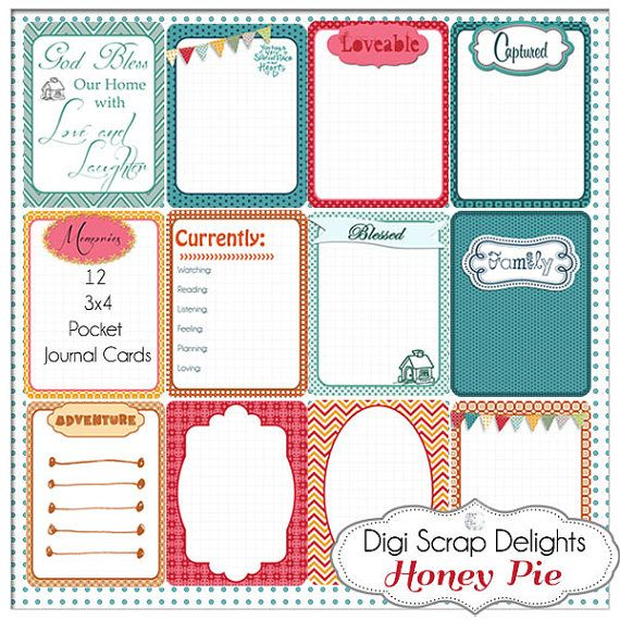 Honey Pie Pocket Journal Cards 3x4 Project by DigiScrapDelights, Honey Pie Pocket Journal Cards 3x4 Project Life Style Type in Turquoise, Red, Orange, Green Pocket Cards, Printable Instant Download