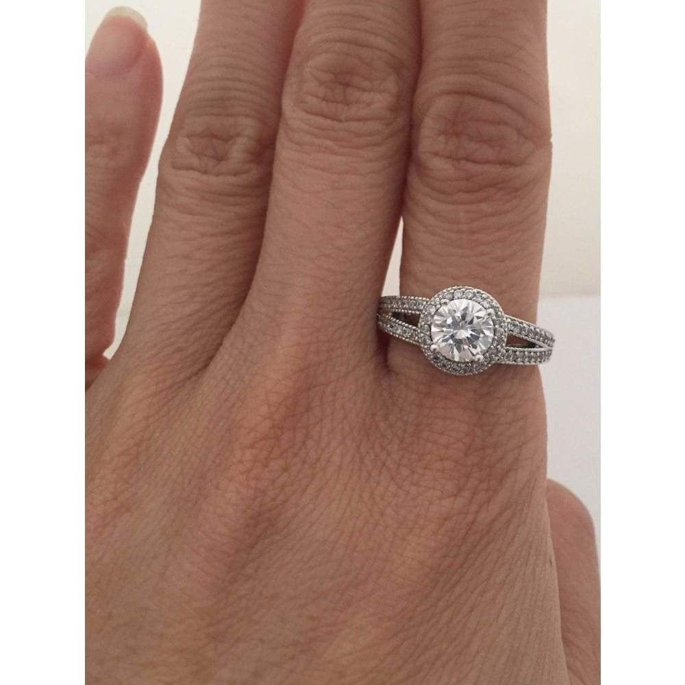 1 Carat Split Shank Halo With Milgrain Cubic Zirconia Engagement Ring Silver Cubic Zirconia Engagement Rings Split Shank Halo Engagement Ring Sparkle Jewelry