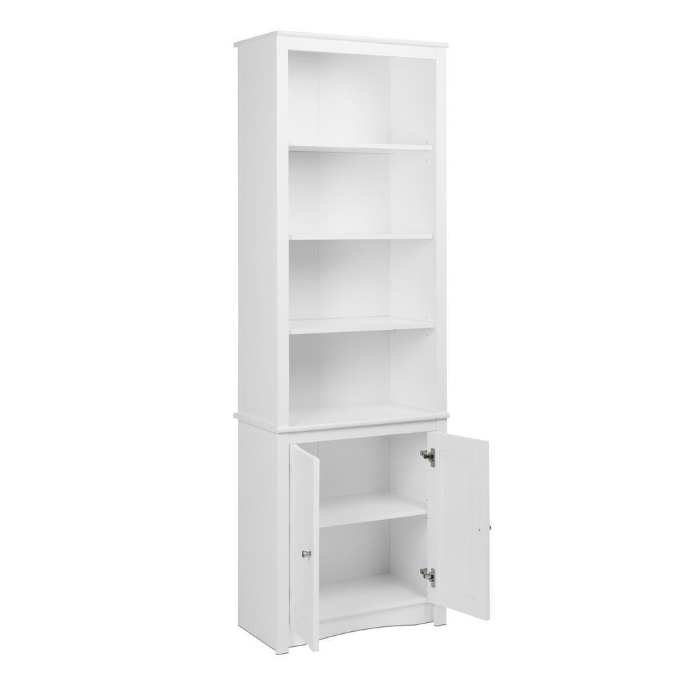 Prepac 80 In White Wood 6 Shelf Standard Bookcase With Doors Wsbh