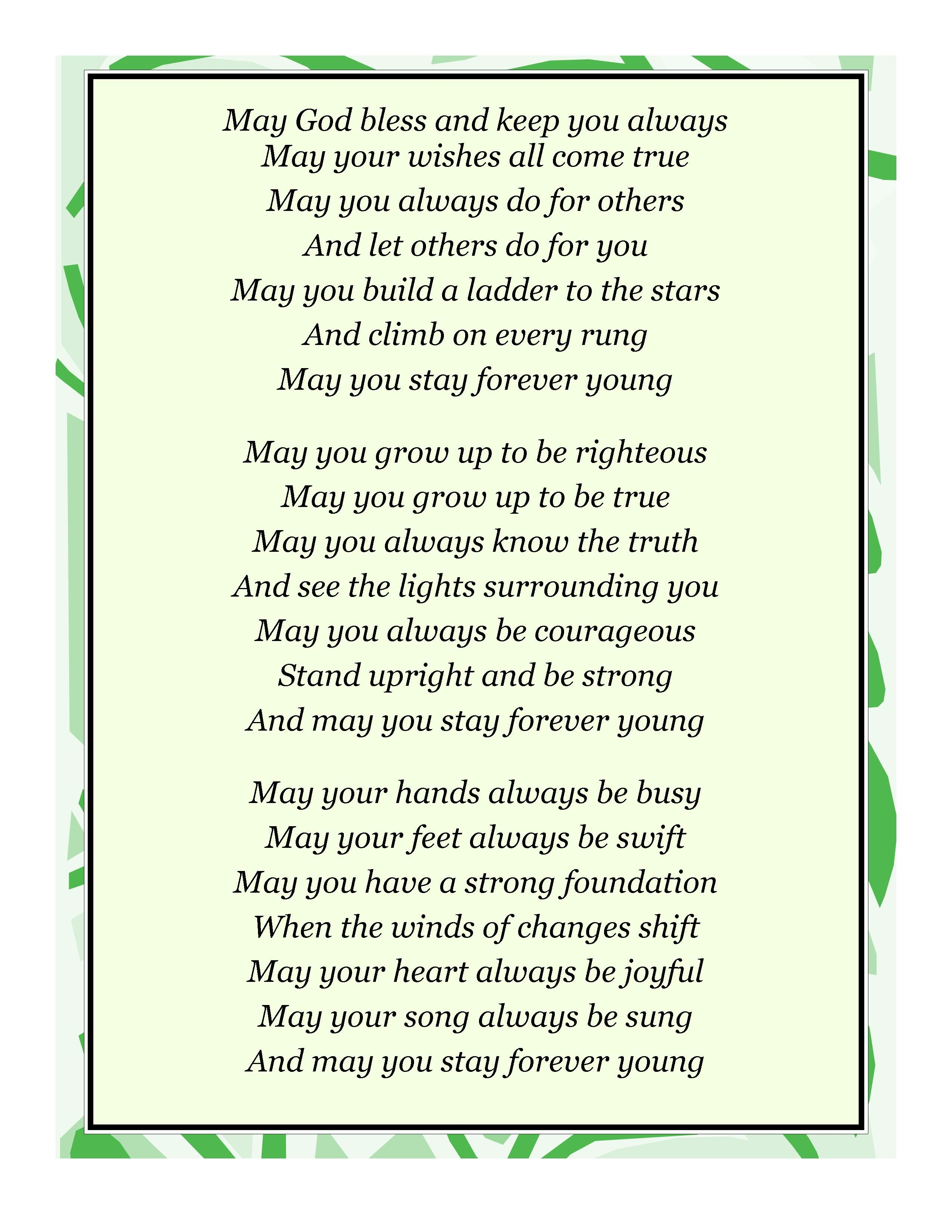 From the non-Irish leprechaun Bob Dylan, an Irish-sounding blessing.