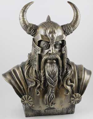 The chief Norse god and ruler of Asgard, Odin is depicted here in this fantastic bust. Known as a patron of wisdom, war, poetry, magic and the hunt, he is displayed here as he is often portrayed; a on