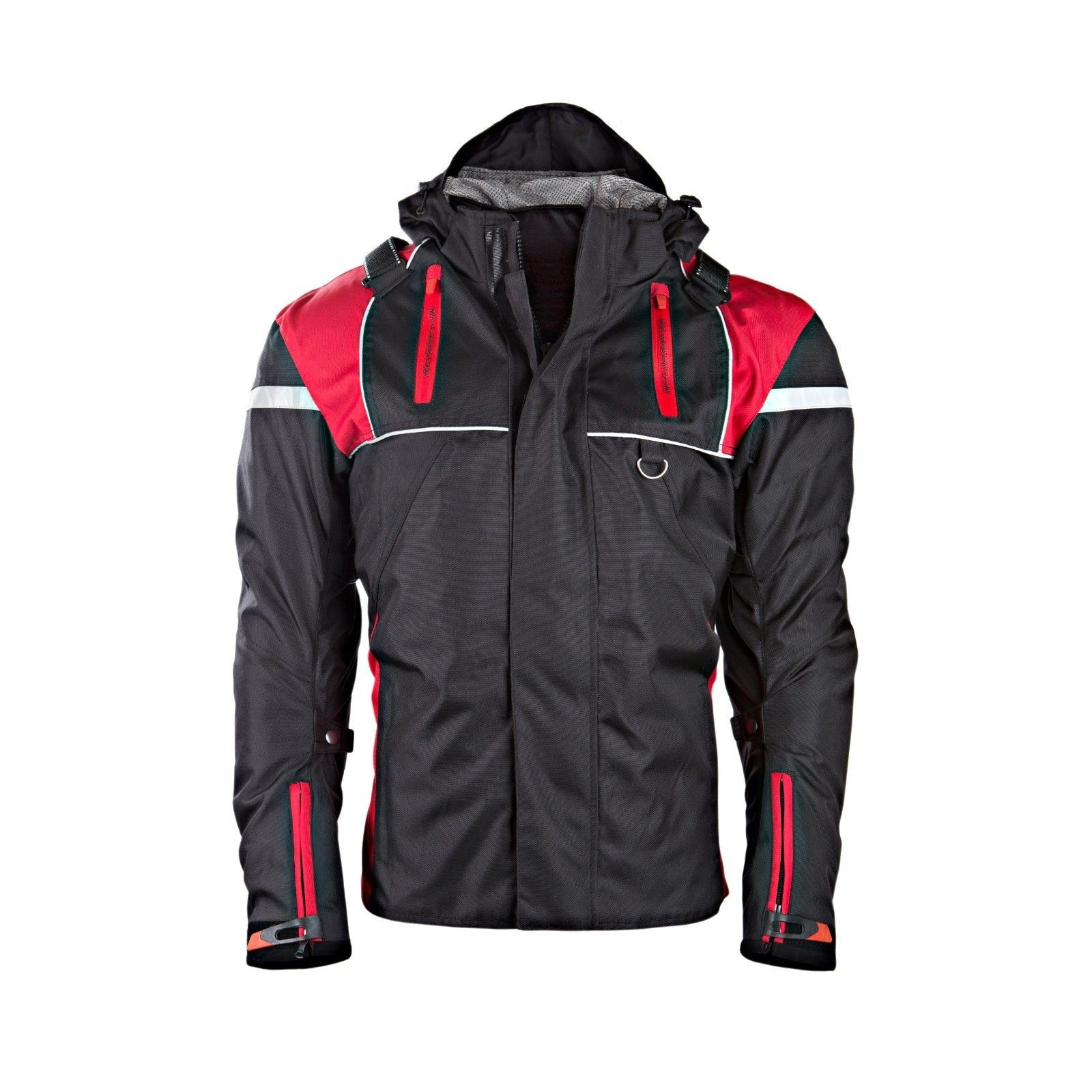 Mens Hivis Motorcycle Black Jacket Textile CE Armoured