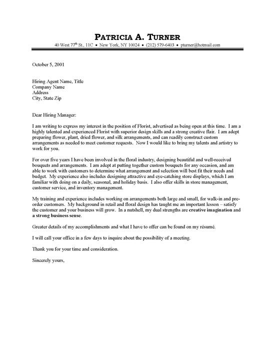 Just Basic Cover Letter Examples Florist Cover Letter Sample - general cover letter
