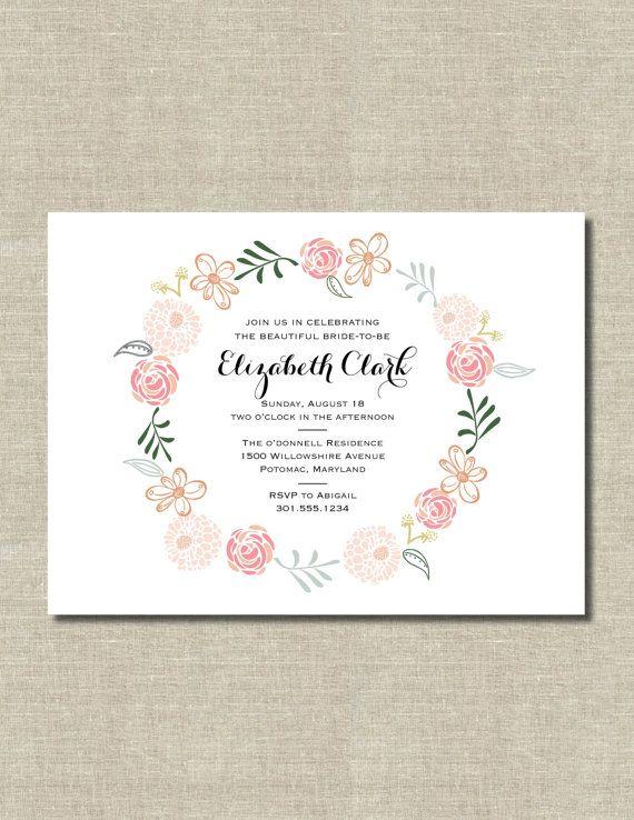Printable pdf flower wreath invitation for bridal shower printable pdf flower wreath invitation for bridal shower birthday wedding stopboris Gallery