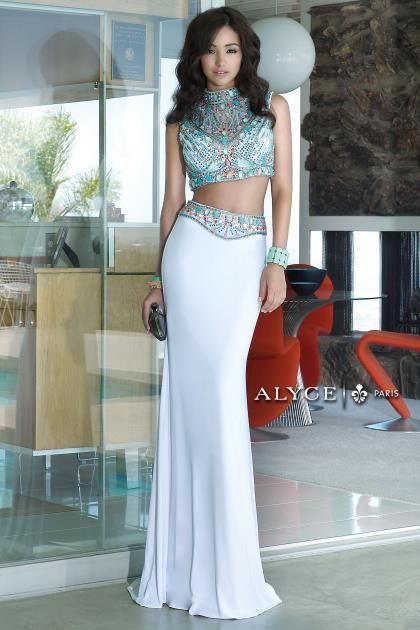 Alyce Paris High Neckline Jersey Dress 6372   Alyce Paris Prom ...