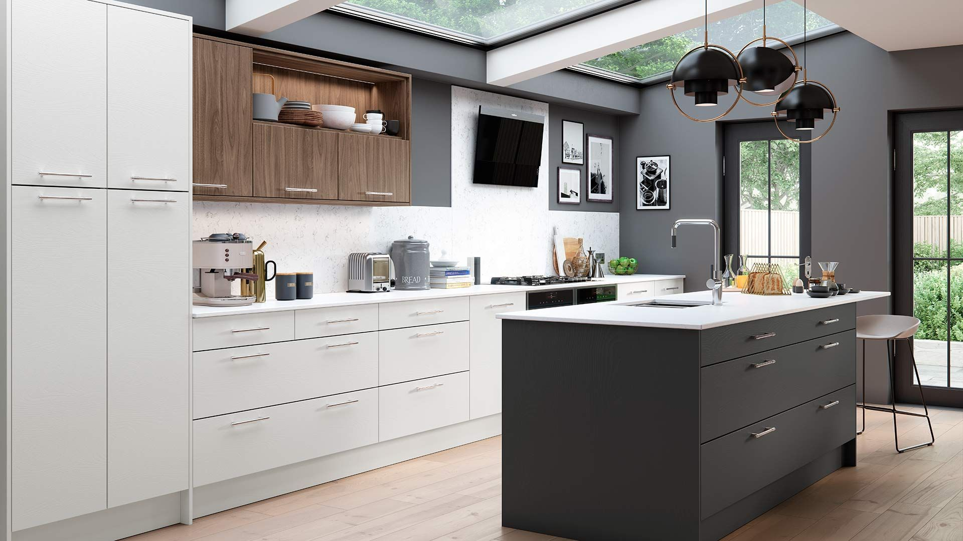Add contrasting colours to your modern kitchen design with