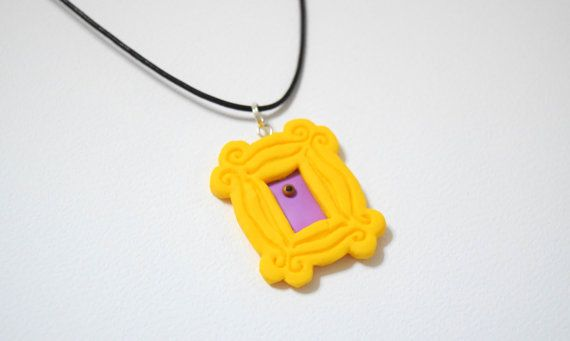 Friends TV show frame, yellow peephole frame necklace, polymer clay ...
