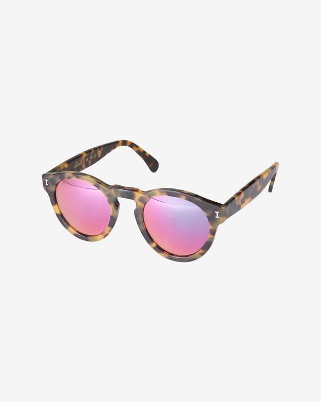 01efb9a0ee3 Illesteva Leonard Pink Mirrored Lense Tortoise Sunglasses