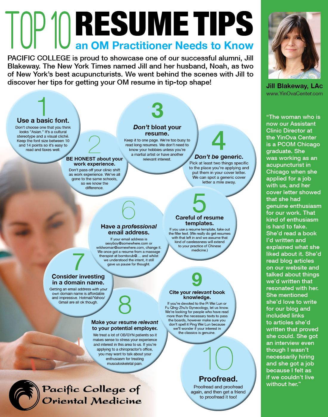 Wonderful Top 10 Resume Tips An OM Practitioner Needs To Know, By: PCOM Alumna Jill  Top 10 Resume Tips