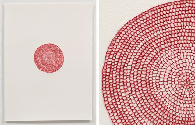 EMILY BARLETTA  Untitled (big circle)  2011  thread and paper  18 x 24 inches  Photograph by Austin Kennedy