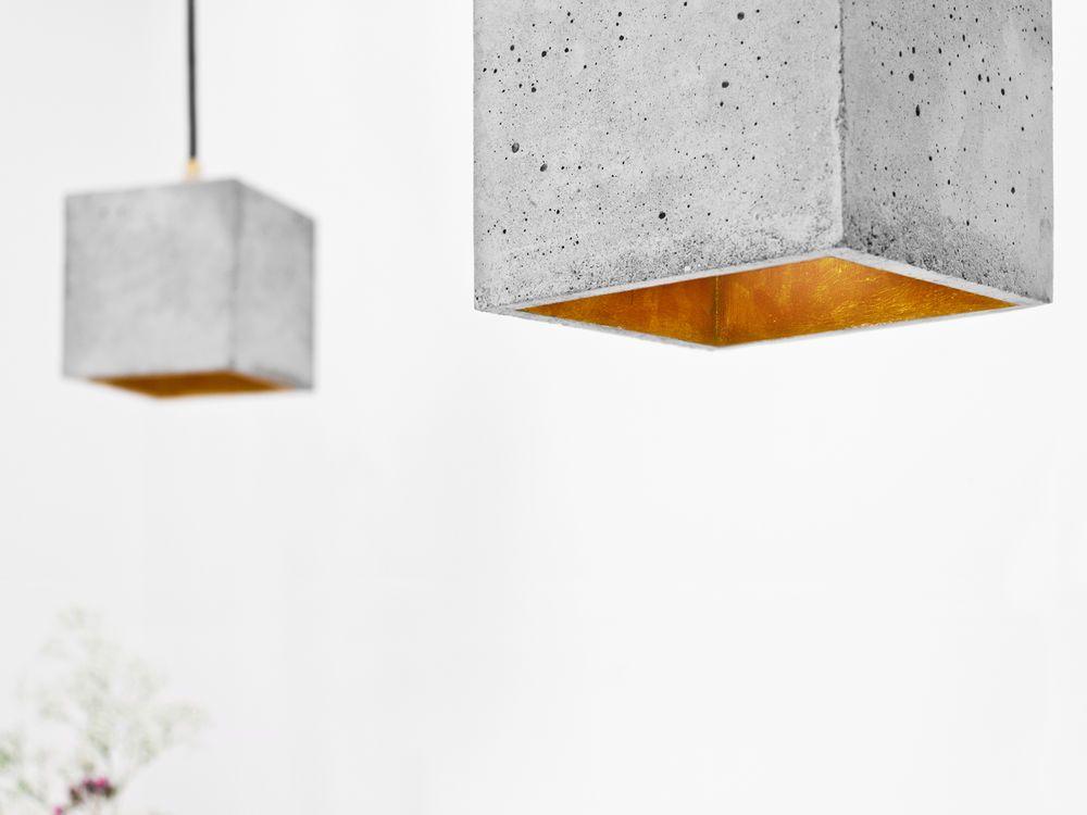 beton hängelampe qubo gold design lampe designer leuchte, Hause deko