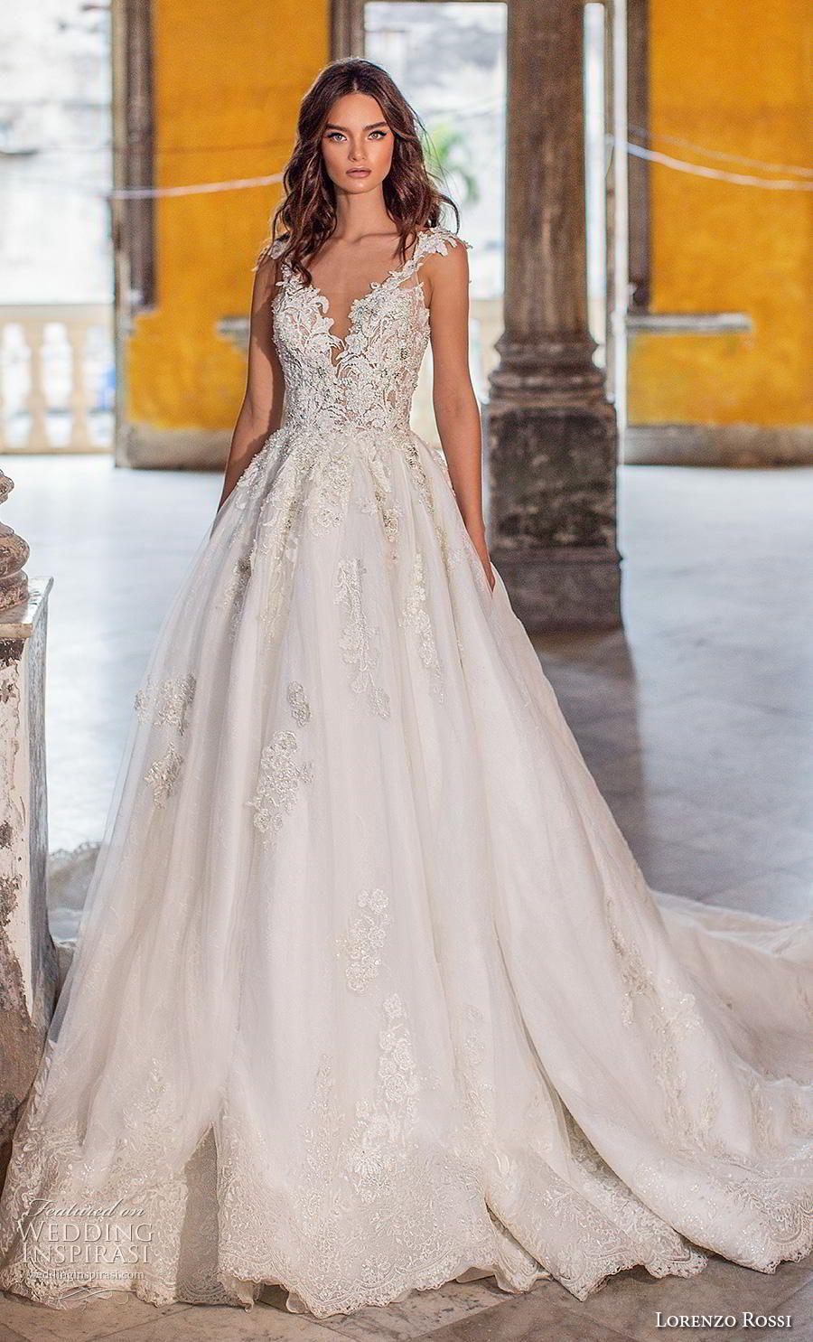 8933bd0284c lorenzo rossi 2018 bridal cap sleeves deep v neck heavily embellished  bodice glizty romantic princess a line wedding dress v back royal train (4)  mv ...