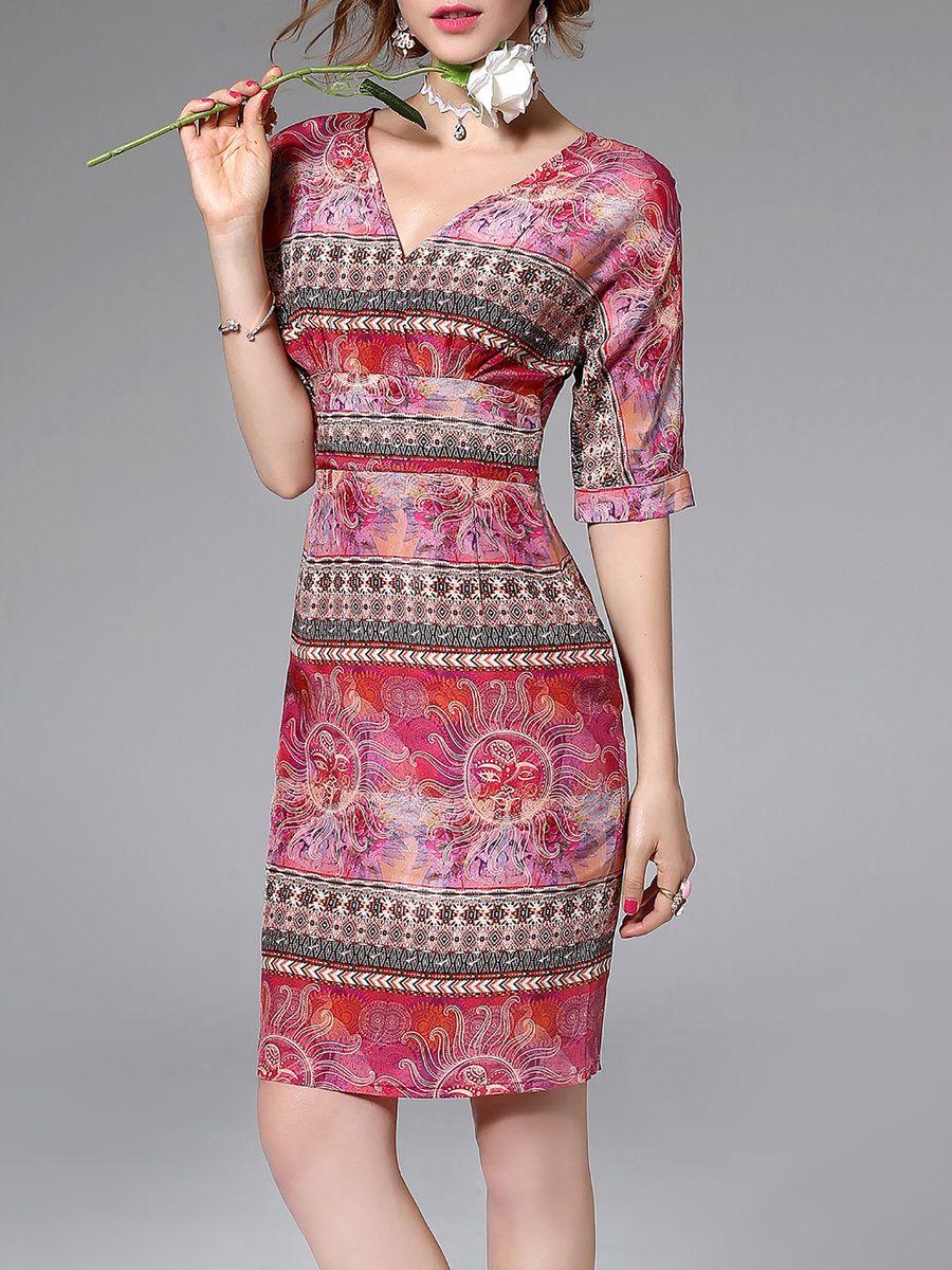 Adorewe stylewe midi dresses designer blue sky vintage abstract