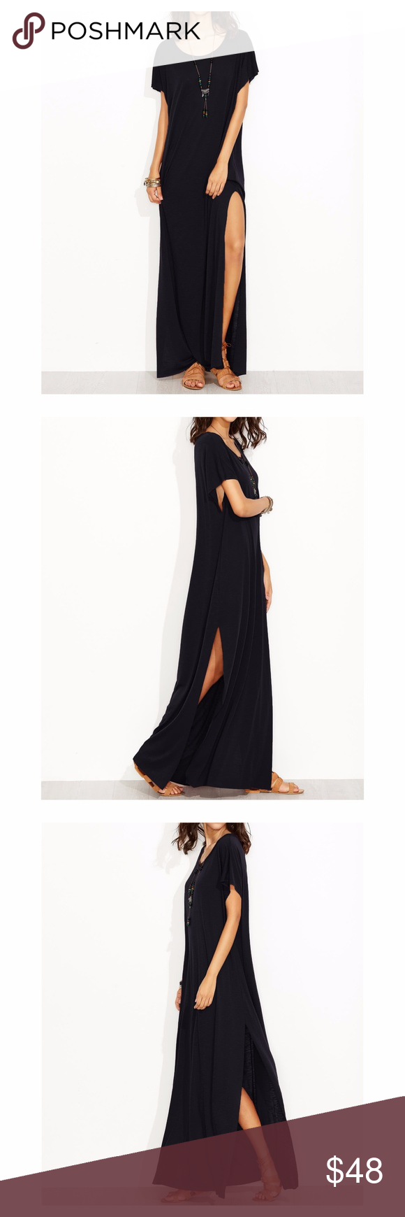 Black short sleeve oversize maxi tee shirt dress boutique