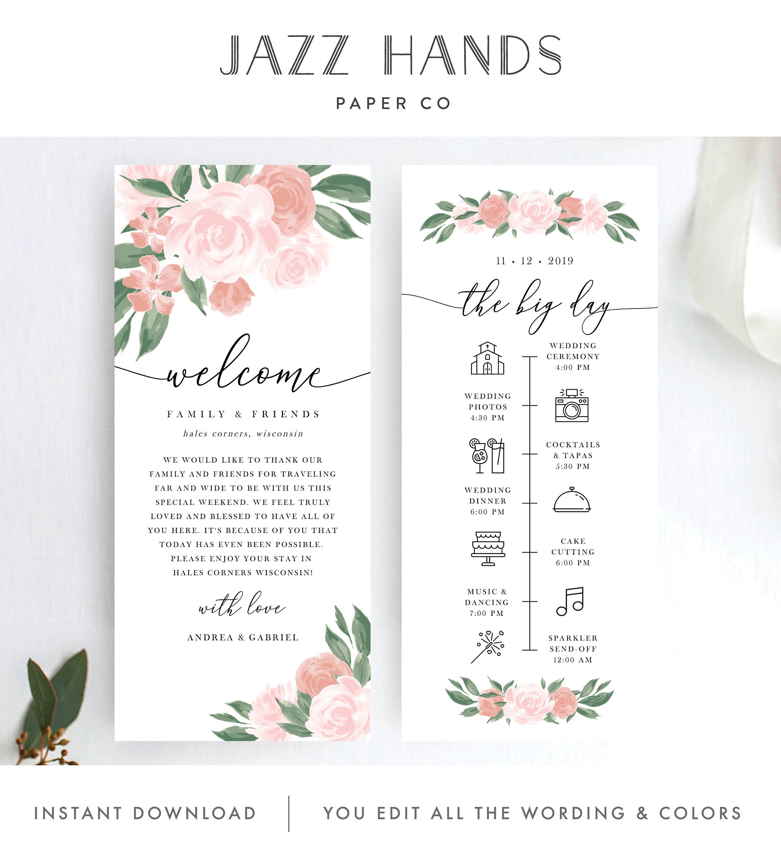 Wedding Itinerary Template Pink And Coral Floral Design Etsy In 2020 Wedding Itinerary Template Wedding Itinerary Itinerary Template