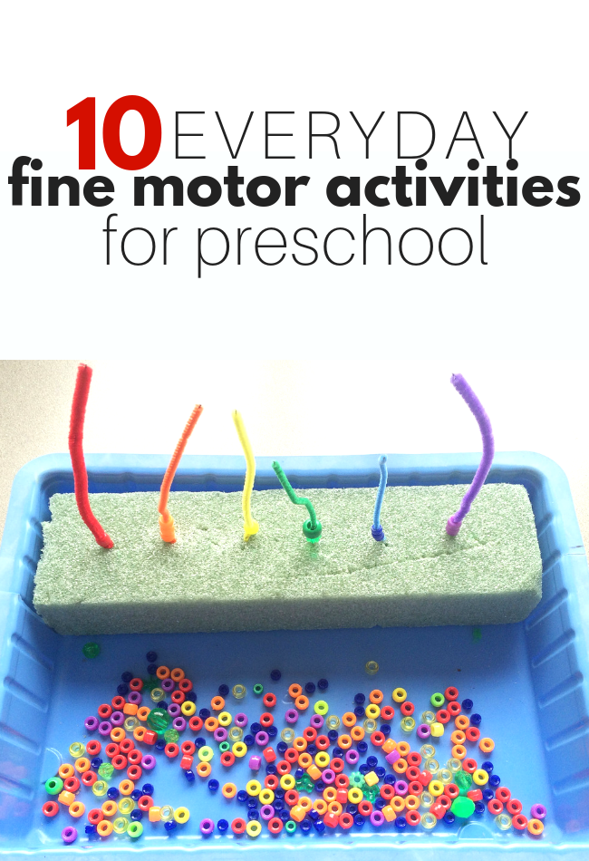 10 Everyday Fine Motor Activities for Preschool Everyday fine motor activities for preschool. These simple fine motor activities are perfect for preschool and preK classrooms. #toddlerhalloween