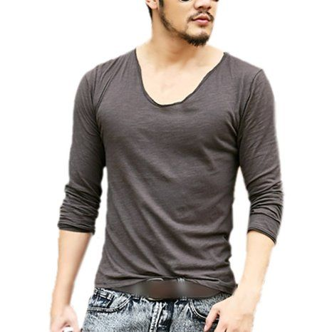 Zbrany Men's Fitted Tops Deep V Neck Long Sleeve T Shirts With Cut ...