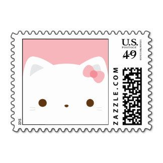 Cute White Cat Postage Stamp