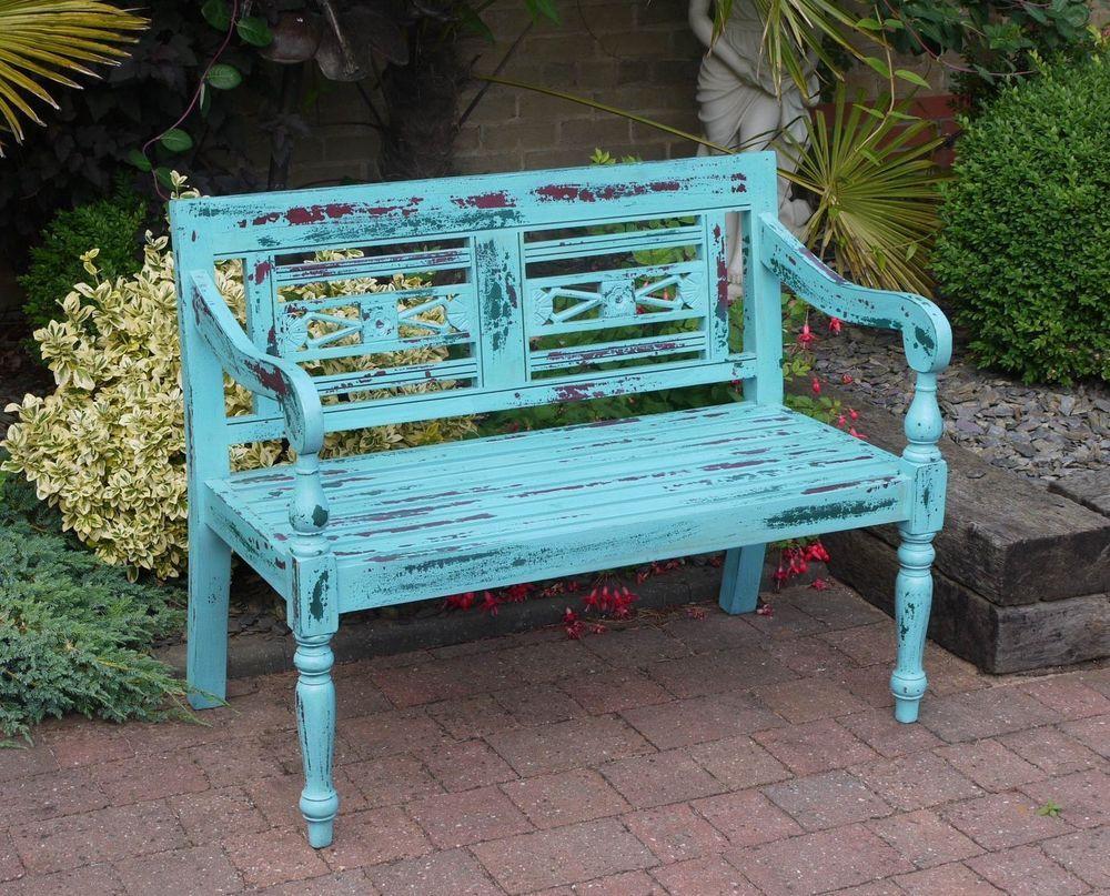 Shabby Chic Vintage Garden Bench Aged Blue Vintage Blue Distressed