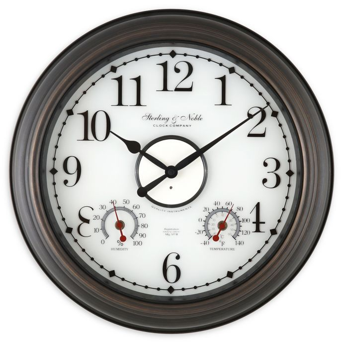 Sterling Noble Lighted Indoor Outdoor Wall Clock Weather Station In Bronze Bed Bath Beyond Outdoor Wall Clocks Wall Clock Outdoor Clock