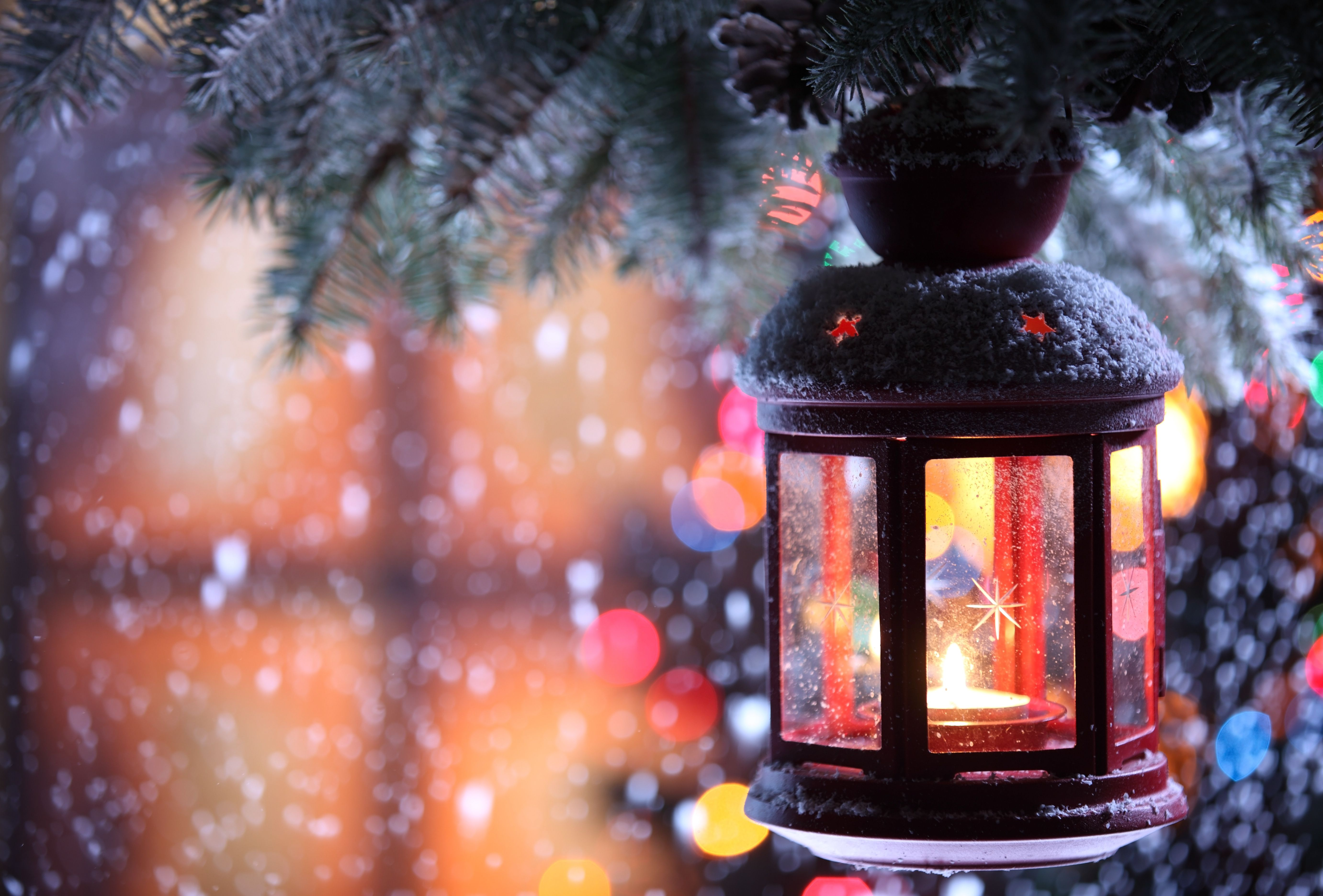 Snow, Christmas tree, window wallpapers and images - wallpapers ...