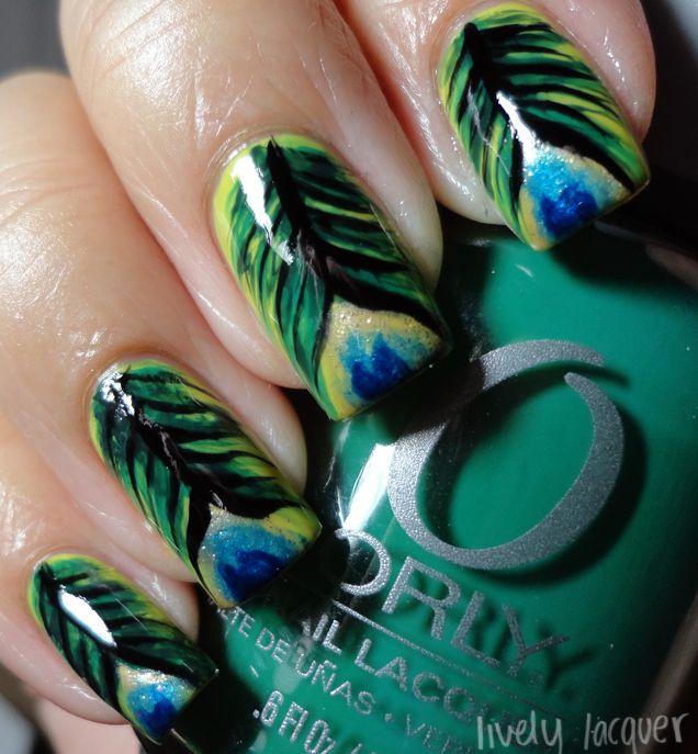 Dark Peacock Feather Nails   nals   Pinterest   Uñas naturales ...
