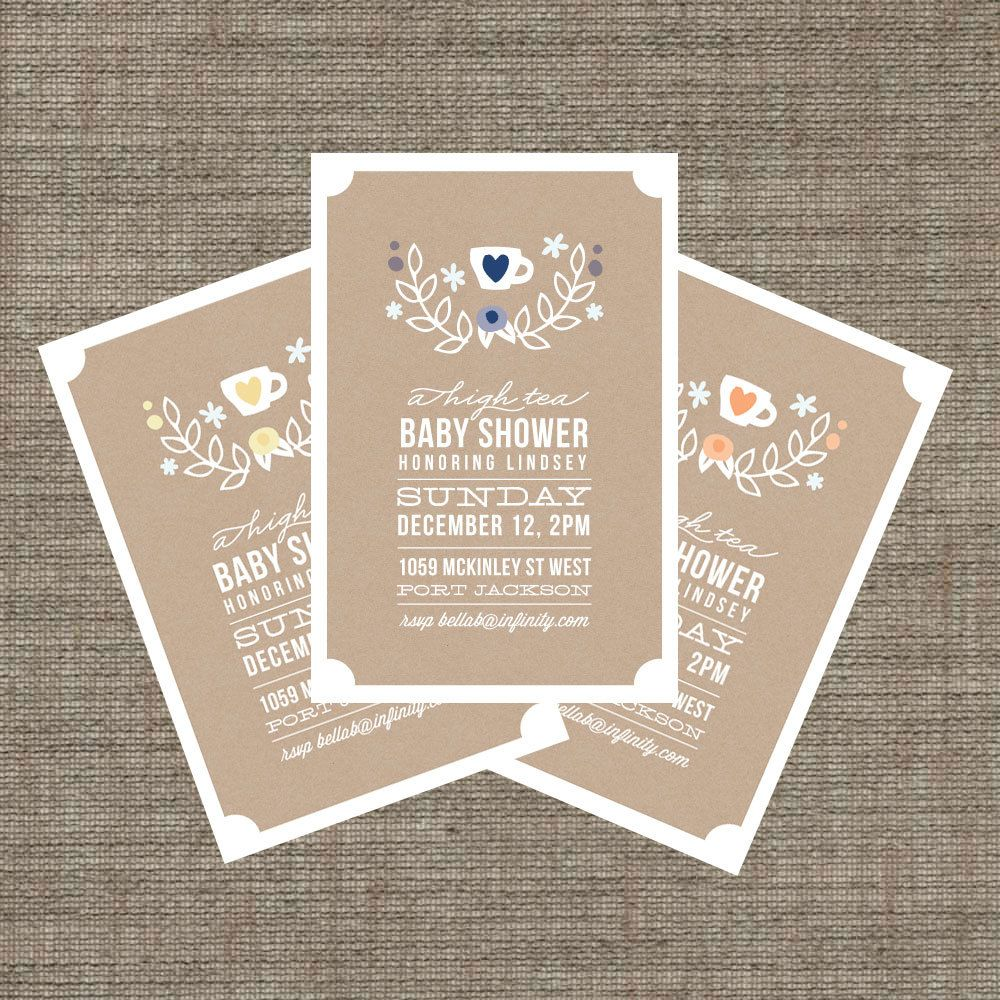 High Tea Baby Shower Invitation - Tea Party Invite for baby boy or ...