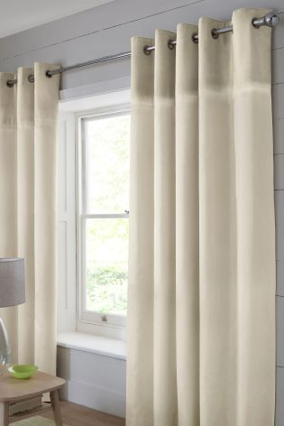 Buy Plush Embroidered Band Eyelet Curtains from the Next UK online