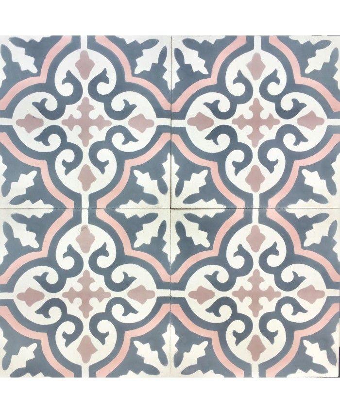 Photo of Cuba Grey Pink Encaustic Cement Tile