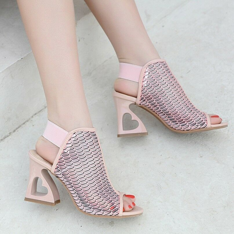61d4c4959e768 Women s Block High Heels Hollow Out Mesh Sandals Peep Toes Slingbacks Shoes  New