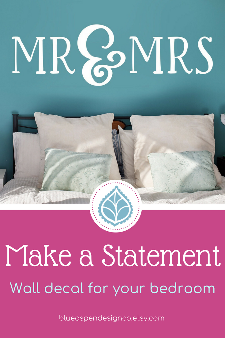Mr and mrs decal bedroom wall decor wedding decals master bedroom