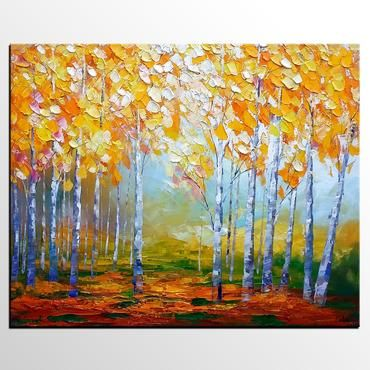 Birch Tree Painting, Abstract Landscape Art, Living Room Wall Art, Canvas Art, Abstract Art, Large Art, Abstract Painting, Original Painting is part of Living Room Art Abstract - Hand Painted Art by Contemporary Artist Colin Ju Only 1 Available Size32x40 Inch Materialoil paint, canvas, gallery wrapped, ready to hang This is an original abstract painting  Two coats of satin varnish were applied to protect the painting from UV rays and dust  It is hand signed by me the artist, on the front  I have painted the edges of the painting, providing a very elegant look making no need for a frame  The painting is ready to hang when you receive it  Besides, abstract artwork does not need a frame  Just hang it and enjoy! Dimensions 32 X 40 X 1 2 deep Inches If you like this painting, but like a different size, please contact me  I ship all paintings within 48 hours of payment Monday through Friday  Once an order leaves my studio, it usually takes 1 to 2 weeks for a package to reach its destination  Longer shipping times do occur, but in most cases you will have your new painting within 1014 days  You can rest assured that your new painting will arrive safely  I pack all paintings in strong and durable materials such as Styrofoam inserts and bubble wrap  I offer 30day 100% moneyback guarantee, so buy with confidence! If for any reason you're not satisfied with your purchase, return it and I'll issue full refund to you