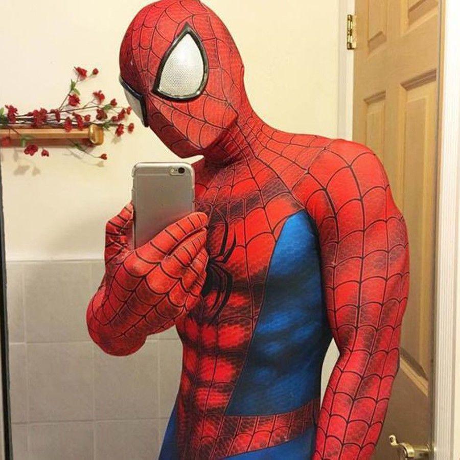 Adult Spiderman Costume Halloween Cosplay Spandex Superhero Zentai Jumpsuit Mask