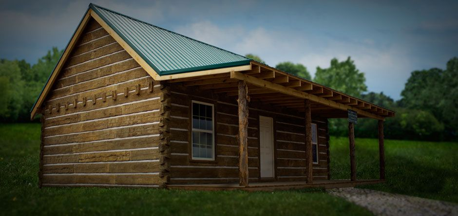 Cabin covered with concrete log siding made in corbin ky for Concrete log cabins