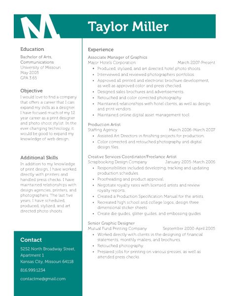 Resume Design Overall great layout Love the color and placement - photography objective resume