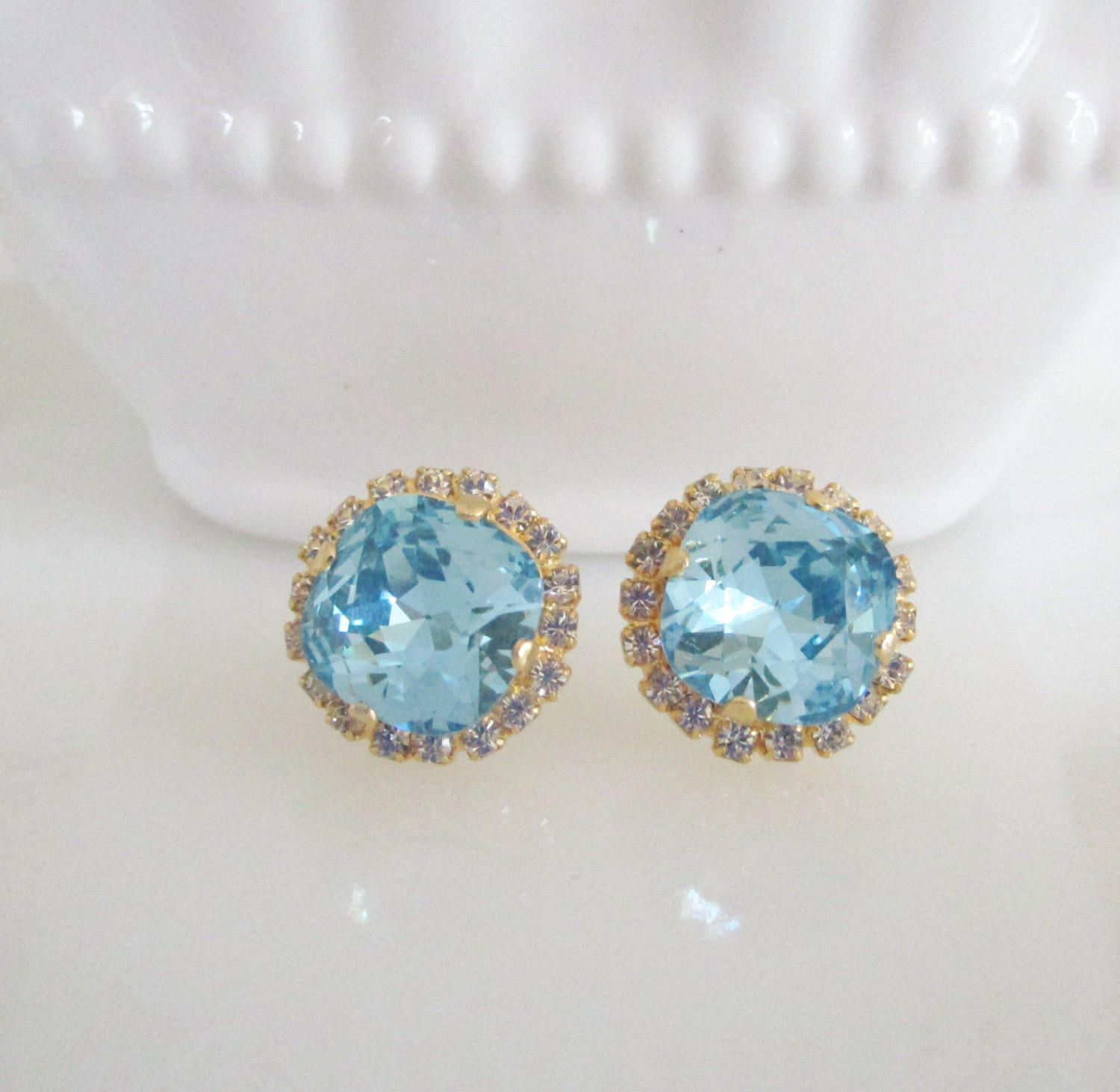 Blue Bridal Earings Wedding Earrings Swarovski Crystal Aquamarine Something Post Stud Gold