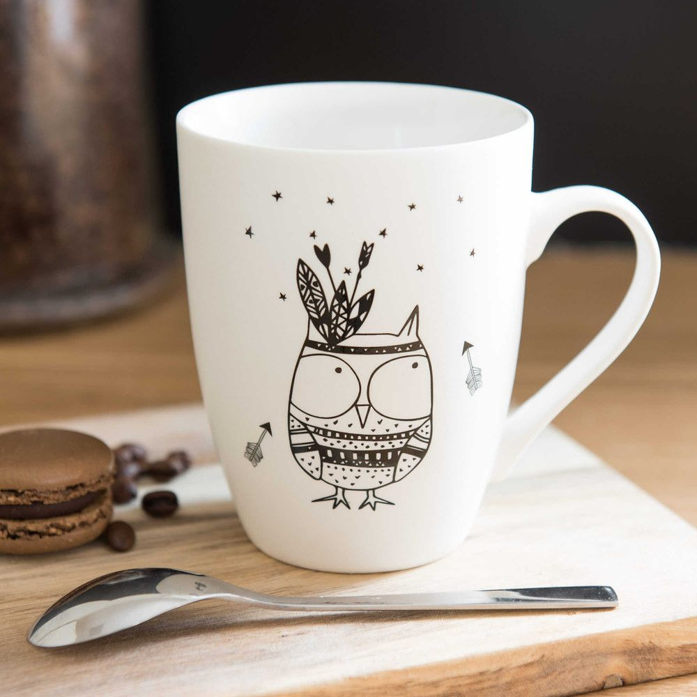 mug motif hibou en porcelaine home cer mica canecas e canecas personalizadas. Black Bedroom Furniture Sets. Home Design Ideas