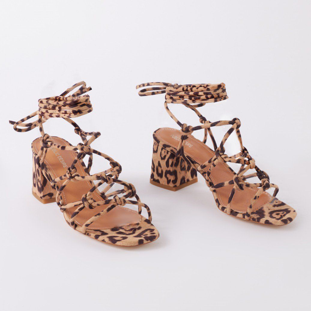 d0f44a8c51 Freya Knotted Strappy Block Heeled Sandals in Leopard Print | Public Desire  | Public Desire US